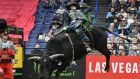Mason Lowe rides the bull Lunatic during a Professional Bull Riders competition last year in St Louis. Photograph: Keith Gillett/AP