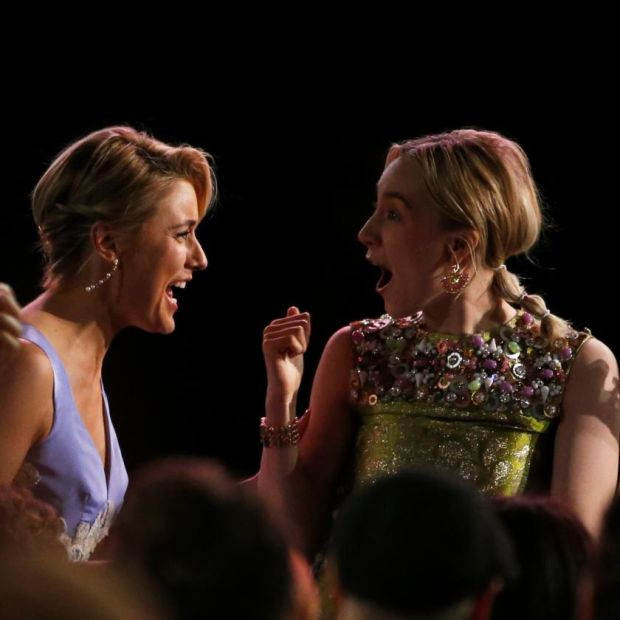 """With any director, it feels like a pupil-teacher relationship, or a parent-child one,"" says Saoirse Ronan, pictured with Greta Gerwig at the 2018 Film Independent Spirit Awards. Photograph: Mario Anzuoni/Reuters"