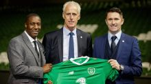 Ireland boss Mick McCarthy with assistane Terry Connor and coach Robbie Keane. Photograph: Ryan Byrne/Inpho