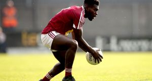 Boidu Sayeh: has been in good form in Westmeath's defence. Photograph: Ryan Byrne/Inpho