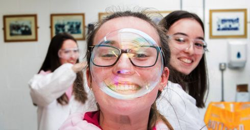 Ashling Cronin from St Mary's in Mallow working in a chemical engineering lab at the CIT IWISH Campus week in the Cork Institute of Technology, Bishopstown campus. Photograph: Darragh Kane