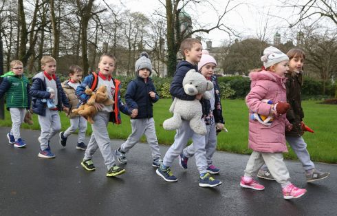 Pupils from St James National School, Galway, on their way the the Teddy Bear Hospital at the Bailey Allen Hall at NUI Galway on Thursday. Photograph: Joe O'Shaughnessy