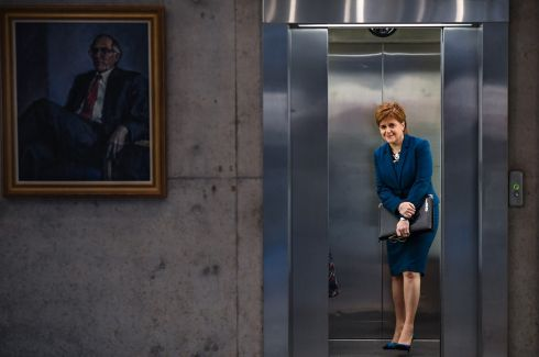 First Minister of Scotland Nicola Sturgeon arrives before answering questions in the Scottish Parliament in Edinburgh. Photograph: Jeff J Mitchell/Getty Images