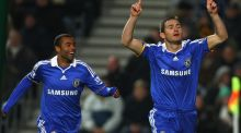 Frank Lampard celebrates scoring a goal with Chelsea team-mate Ashley Cole in 2008. Photograph: Phil Cole/Getty Images