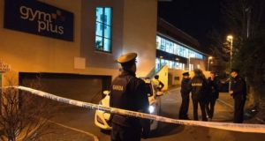 The scene of a double shooting beside a gym nears Swords, Co Dublin. Photograph: Dave Meehan/The Irish Times