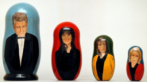 Russian nesting dolls painted with images of President Bill Clinton and women other than his wife to whom he has been linked: Monica Lewinsky, Paula Corbin Jones and Gennifer Flowers. Photograph: Alexander Zemlianichenko/AP
