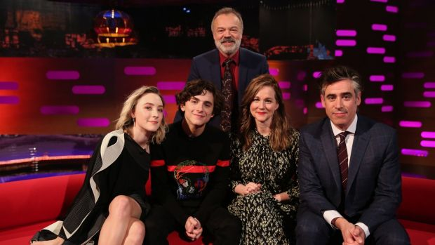 Graham Norton with Saoirse Ronan, Timothée Chalamet, Laura Linney and Stephen Mangan.