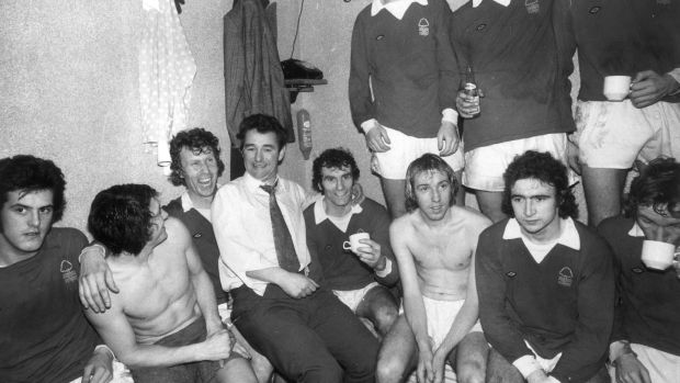 Nottingham Forest manager Brian Clough in the dressing room in 1975 with members of his team, amongst them current Forest manager Martin O'Neill (front row, second from right). Photograph: Evening Standard/Getty Images