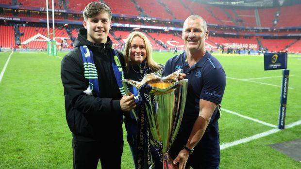 Leinster assistant coach Stuart Lancaster celebrates with his wife Nina and son Daniel after last year's Champions Cup Final victory over Racing 92 in Bilbao. Photograph: David Rogers/Getty Images