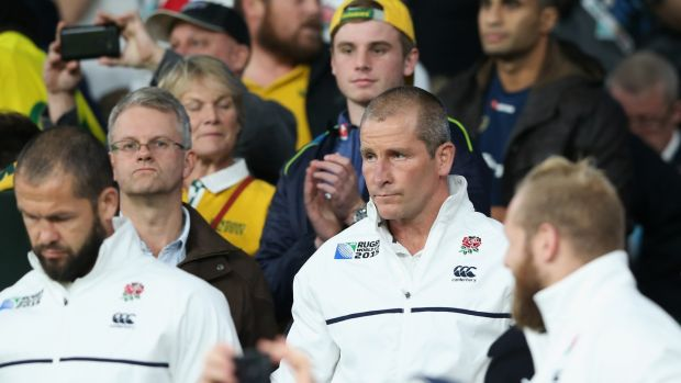 England head coach Stuart Lancaster looks dejected during the 2015 Rugby World Cup pool match against Australia at Twickenham Stadium. Photograph: David Rogers/Getty Images
