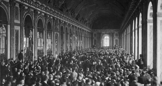The great hall at Versailles was the site of the signing of the Treaty of Versailles which imposed swingeing terms on Germany and blamed it and Austria-Hungary for starting the first World War.
