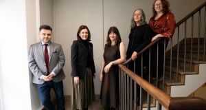 The Irish Times Irish Theatre Awards judges Paula Shields (centre), Catriona Crowe (second from right) and Ella Daly (far right) with, from far left, Gerard McNaughton and Ruth McCarthy of Tilestyle. Photograph: Tom Honan