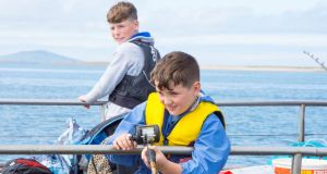 Matthew Moran and Oisin Fynes on a fishing trip with Newport Sea Angling Club