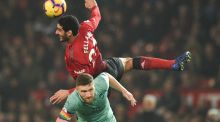 Fellaini outjumping Arsenal's Shkodran Mustafi. The Belgian can make use of his Velcro-touch chest control, all the while clearing the area around him with a head-high, studs-up roundhouse ninja lunge. Photograph: AFP