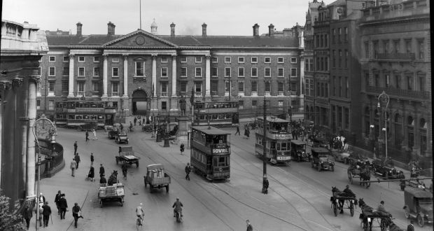 Dublin city traffic: The junction of Dame Street and College Green, circa 1930. Photograph: National Library of Ireland/Flickr Commons