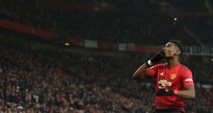 Manchester United's  Paul Pogba celebrates scoring  from the penalty spot during the  Premier League game against   Brighton  at Old Trafford. Photograph: Oli Scarff/AFP/Getty Images