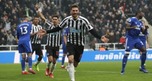 Fabian Schar celebrates scoring  Newcastle United's  third goal during the Premier League match against  Cardiff City at St James' Park. Photograph: Ian MacNicol/Getty Images