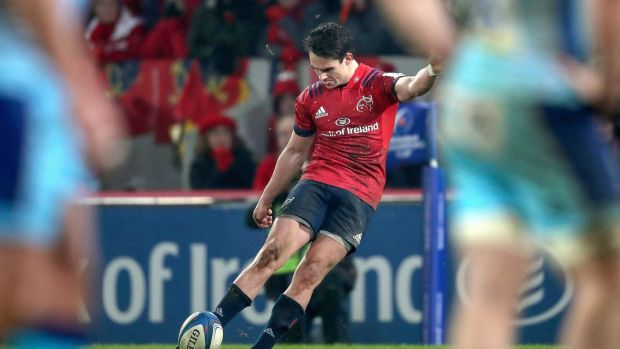 Joey Carbery kicks the winning penalty for Munster in the Heineken Champions Cup game against Exeter Chiefs at Thomond Park. Photograph: Bryan Keane/Inpho