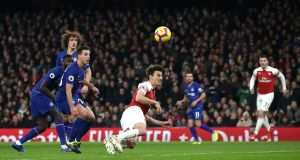 Arsenal's Laurent Koscielny scores his side's second goal at The Emirates Stadium. Photograph: PA