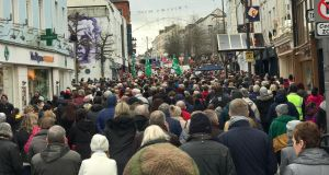 Up to 10,000 people marched in Waterford city earlier today calling for a 24/7 cardiology service at University Hospital Waterford (UHW).