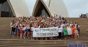 Irish nurses gathered at the Sydney Opera House to protest. Instagram: Nursesofaustralia