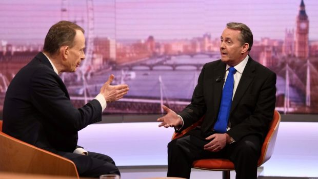 Britain's Secretary of State for International Trade Liam Fox appears on BBC TV's The Andrew Marr Show . Photograph: Jeff Overs/BBC/Handout via Reuters