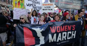 Women's March in California on January 19th, 2019, in Los Angeles: The Repeal movement and referendum win have acted as a point of inspiration and hope for women in America. Photograph: Sarah Morris/Getty