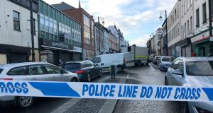 A police cordon near the scene of a car bomb blast on Bishop Street in Derry this weekend. Photograph: Rebecca Black/PA Wire