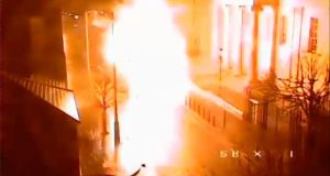 PSNI CCTV footage of the car bomb exploding outside Derry courthouse.