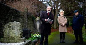 The annual Tom Johnson graveside oration is given by Labour Party chairman Jack O'Connor on Saturday at Clontarf cemetery, Dublin. Photograph: Tom Honan