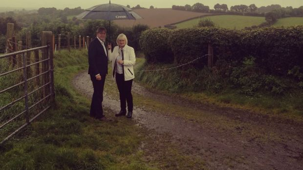 Guy Verhofstadt on Ossy Hughes's farm, which straddles the Border