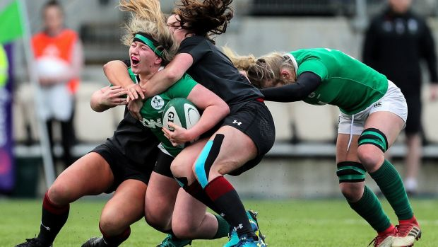 Ireland's Emma Hooban is tackled during the international friendly against Wales at Energia Park in Donnybrook. Photograph: Laszlo Geczo/Inpho