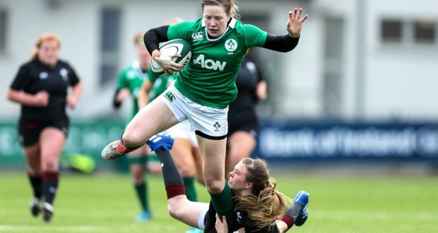 2e7f2f6eb238 Ireland fullback Lauren Delany in action during the international friendly  against Wales at Energia Park in