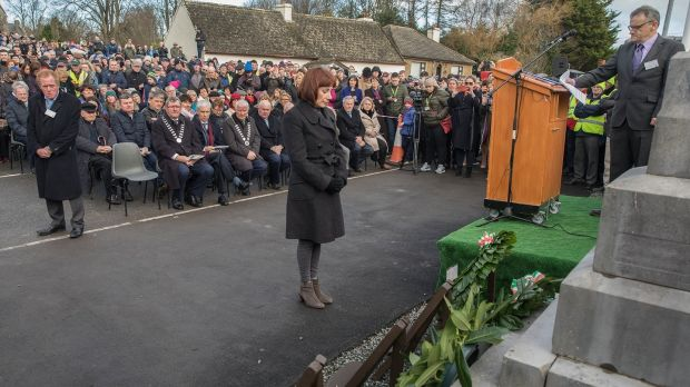 Minister for Culture, Heritage and the Gaeltacht Josepha Madigan after laying a wreath at the Soloheadbeg memorial in Co Tipperary. Photograph: John D Kelly