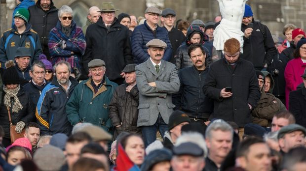 A section of the large crowd attending the centenary of the Soloheadbeg ambush in Co Tipperary on Sunday. Photograph: John D Kelly