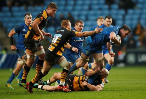CHOPPED DOWN: Leinster's James Ryan is tackled by Wasps' Tom Cruse and Jake Cooper-Woolley during the province's 37-19 Champions Cup victory at the Ricoh Arena in Coventry. Photograph: Andrew Boyers/Action Images via Reuters