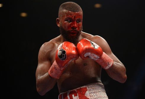 BLOODIED AND BRUISED: Badou Jack during his WBA Interim & WBC Silver light heavyweight boxing match against Marcus Browne at MGM Grand Garden Arena in Las Vegas, Nevada. Photograph: Joe Camporeale/USA Today Sports