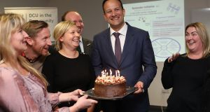 Taoiseach Leo Varadkar receiving a birthday cake on his 40th from DCU students and staff on Friday. Photograph: Julien Behal Photography
