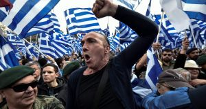 People demonstrate in Athens on Sunday against the  North Macedonia naming deal. Photograph: Louisa Gouliamaki/AFP/Getty Images