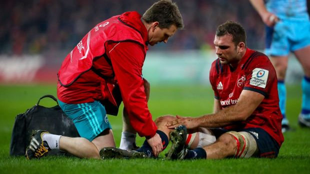 Munster's Tadhg Beirne lies down injured during their Champions Cup victory over Exeter Chiefs. He will now miss the opening two rounds of the Six Nations. Photo: Oisin Keniry/Inpho