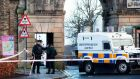 PSNI investigating after a white transit van was stolen just before 11.30am in Derry. Photograph:  Paul Faith/AFP