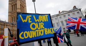 Pro-Brexit protesters  outside the Houses of Parliament:  hard Brexiteers, under the cover of nationalism, want to unleash an even more virulent form of globalisation that will destroy what is left of working-class communities. Photograph: Tolga Akmen/AFP/Getty Images