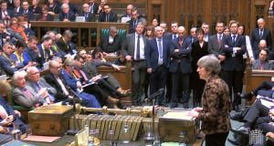 British prime minister Theresa May speaking in the House of Commons in London. Photograph: EPA/Parliamentary recording unit