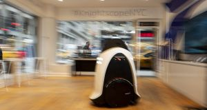 A Knightscope security robot at the company's showroom in Manhattan. Are we secretly terrified that robots will take our jobs? Upend our societies? Control our every move with their ever-expanding capabilities and air of quiet malice? Photograph: The New York Times