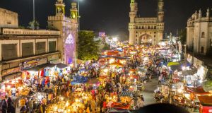 A night bazaar in Hyderabad.
