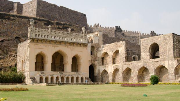Ruins and gardens of the medieval Mogul Empire Golkonda Fort in Hyderabad, India.