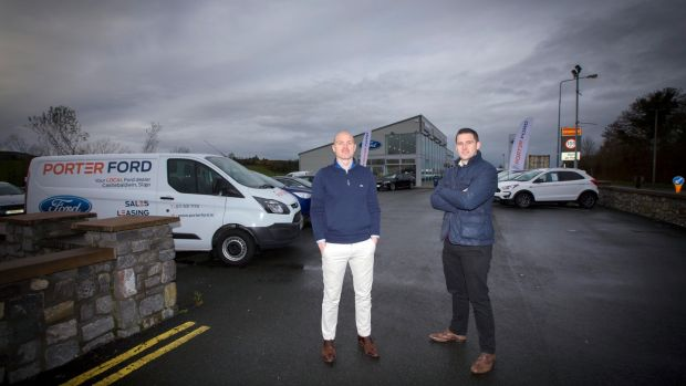 Brothers David and Ray Porter at their car sales business in Castlebaldwin, Co Sligo. Photograph: Brian Farrell
