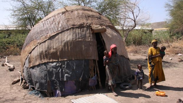 A traditional nomadic home of the Afar. Photograph: James Jeffrey