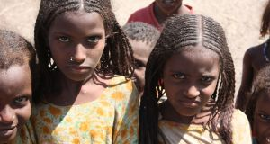Afar girls displaying the braided hair styles popular among the women. Photograph: James Jeffrey