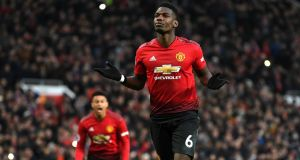 United's  Paul Pogba  after scoring against  Brighton  at Old Trafford on January 19th. Photograph:  Gareth Copley/Getty Images